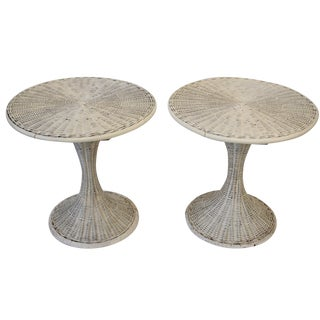 Rattan Tulip-Style Side Tables - A Pair