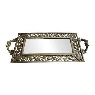 Vintage Ornate Silver Filigree & Mirrored Tray