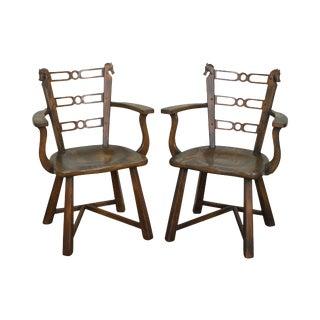 Vintage Romweber Viking Oak Horsehead Arm Chairs - a Pair