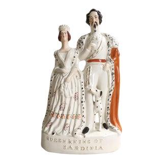 Antique Staffordshire Queen & King of Sardinia Figurine