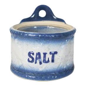 Vintage Blue White Stoneware Hanging Salt Box Cellar