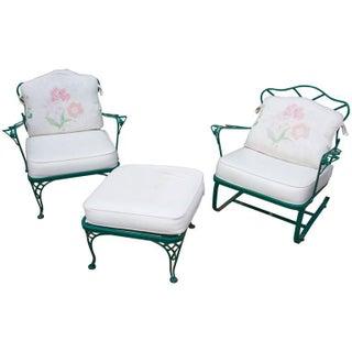Mid-Century Modern Russell Woodard Outdoor Rocker, Chair and Ottoman - 3 Piece Set