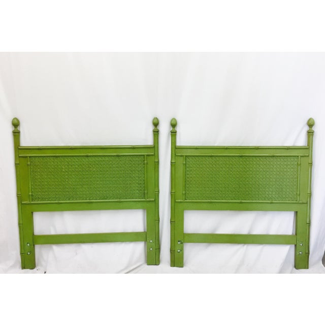 Vintage Green Faux Bamboo Twin Beds - a Pair - Image 9 of 9