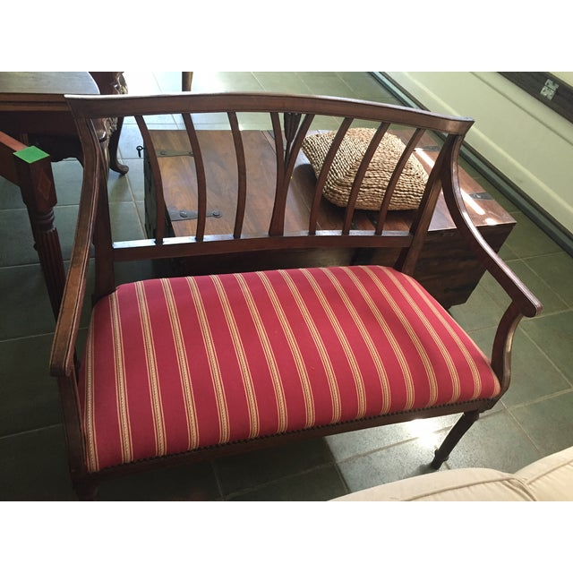 Vintage 1930's Wood and Fabric Bench - Image 3 of 3