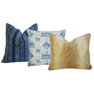 Brunschwig & Fils French Toile, Antelope Fawn Spot Velvet, & Indigo Blue Hand Blocked Batik Pillows - Set of 3