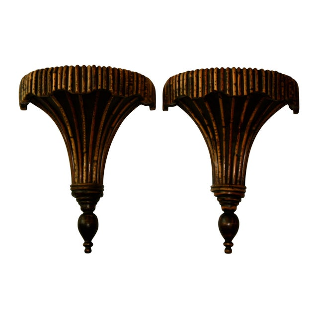 Bamboo Sconces - A Pair - Image 1 of 4