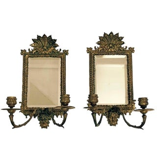 Renaissance Style Beveled Mirror Girandoles - A Pair