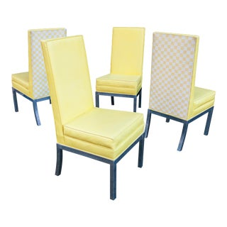 Chrome Upholstered Parsons Chairs – Set of 8