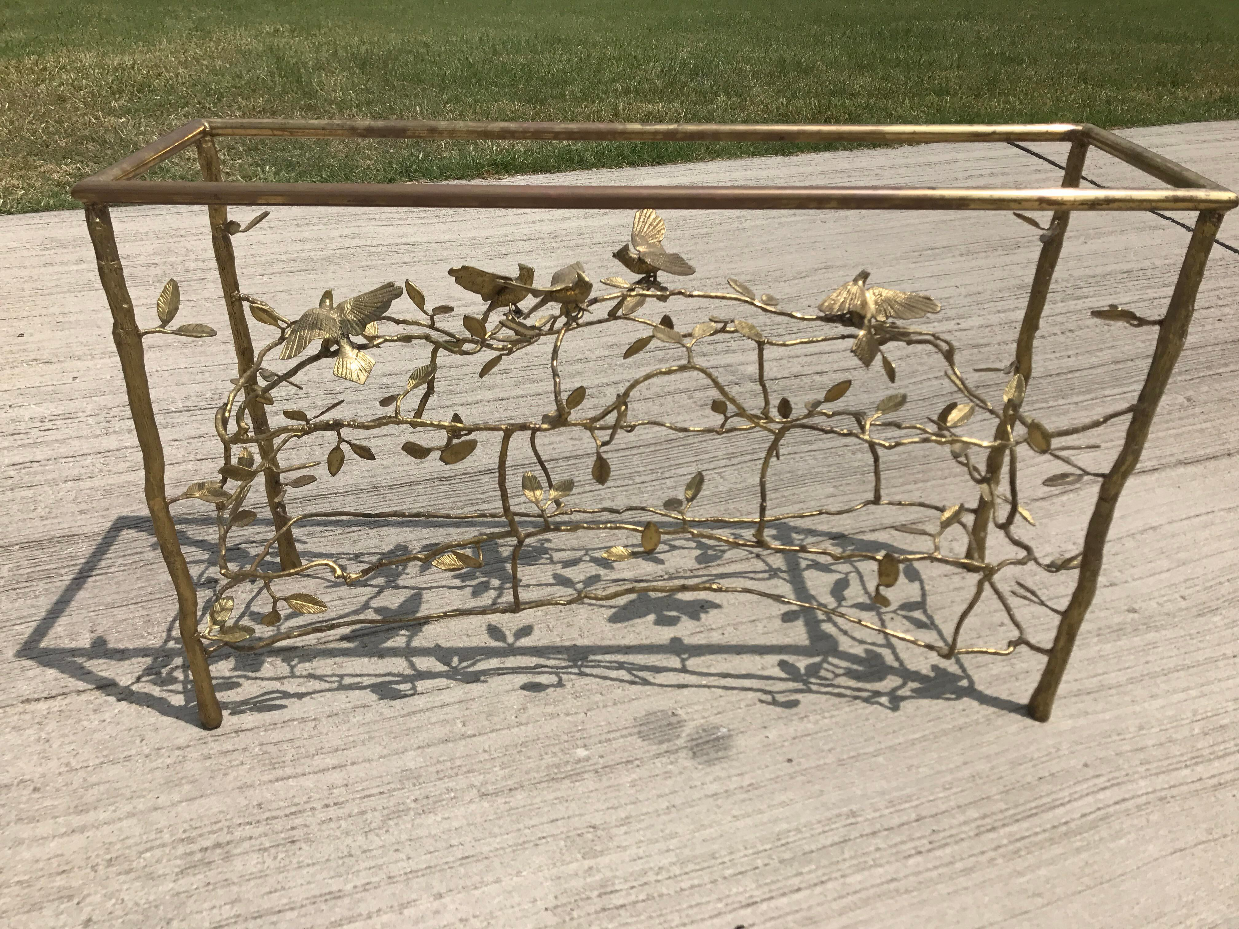 Willy Daro Hollywood Regency Brass Branch U0026 Bird Console Table   Image 2 ...