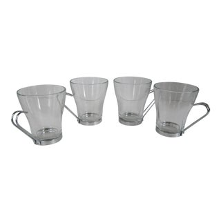 Vintage Glass/Metal Italian Espresso Cups - S/4