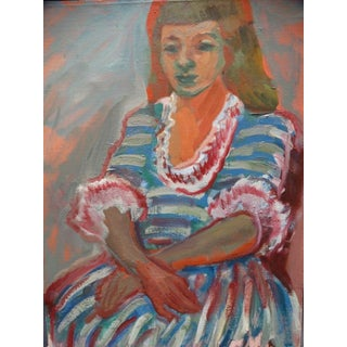 "Anders Aldrin Painting, ""Girl in Striped Dress"""
