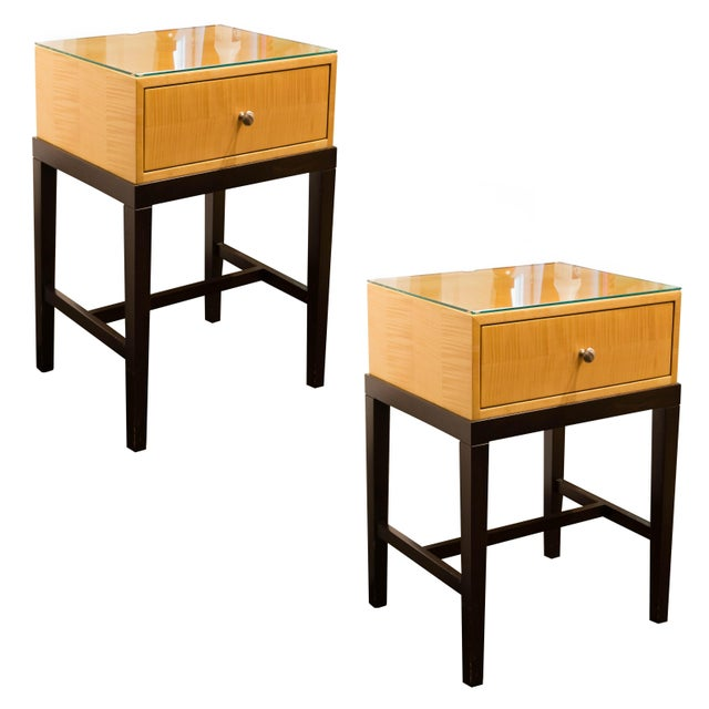 Dark Mahogany and Maple Night Stands - Pair - Image 1 of 4