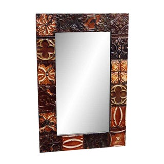 Brown Tin Panel Mirror