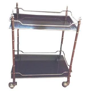 Faux Bamboo Smoked Glass & Chrome Bar Cart