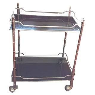 Faux Bamboo Smoked Glass & Chrome Bar Cart