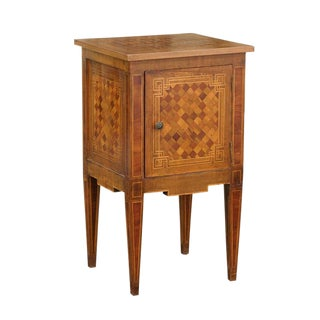 Petite Italian Late 19th Century Commode with Checkerboard inlay and Single Door