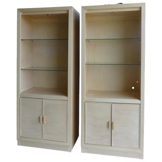 Modern Split Reed Lighted Cabinets - A Pair