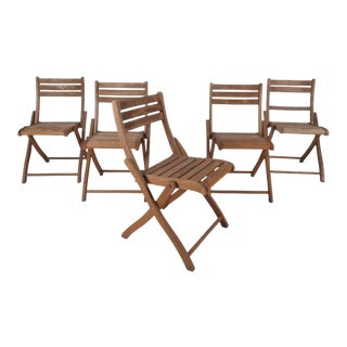 Vintage Modern Wood Folding Chairs - Set of 5
