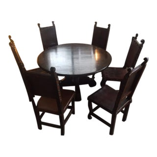 17th Century Medieval StyleDining Table Set - Set of 7
