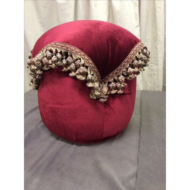 Burgundy Round Tassel Ottoman Chairish
