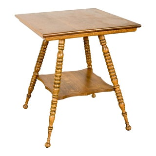 Antique Tiger Oak Two-Tier End or Side Table