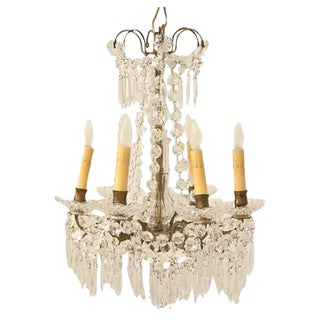 C.1940 Petite French Crystal 6-Light Chandelier