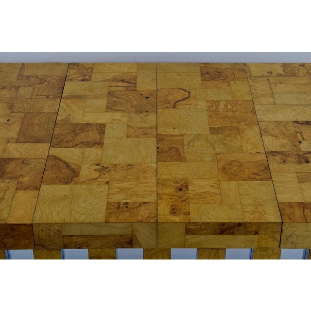Paul Evans Burl Wood and Chrome Cityscape Dining Table - Image 5 of 10