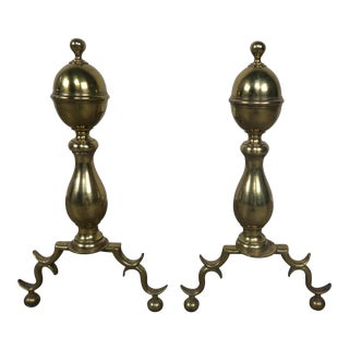American Brass Andirons - A Pair