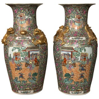 Rose Medallion Export Chinese Vases - A Pair