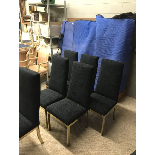 Image of Vintage Brass & Black Dining Chairs - Set of 6