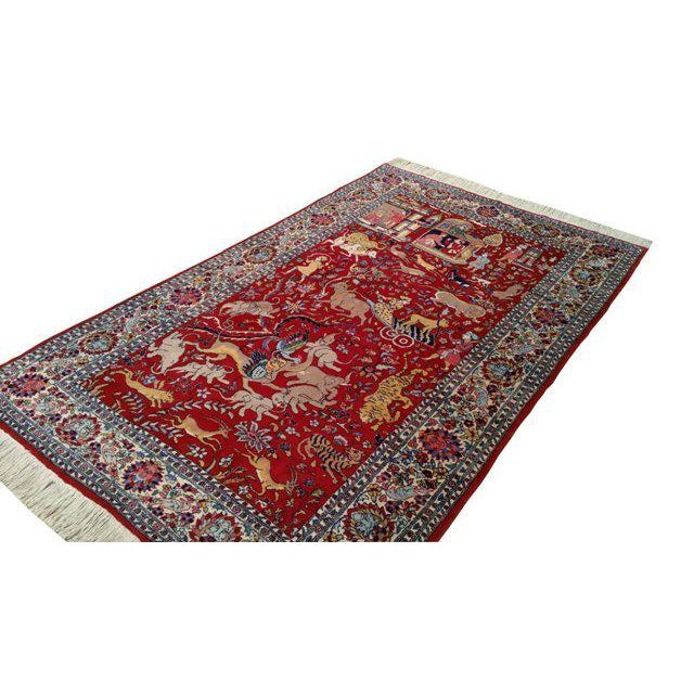 4′8″ × 7′5″ Vintage Scenery Hand Made Knotted Rug - Size Cat. 5x7 4x6 - Image 3 of 3