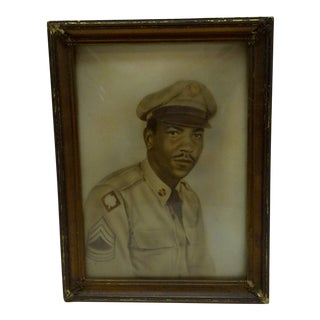 Circa 1944 Vintage World War II Black Sergeant Portrait Photograph