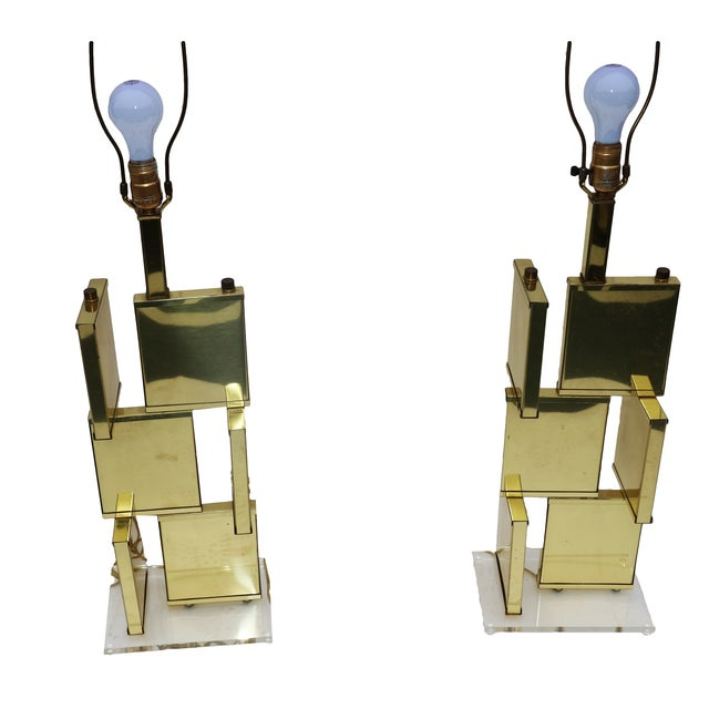 Image of Pair Mid Century Modern Brass Lucite Lamps