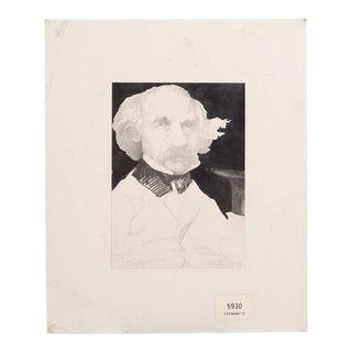 Nathaniel Hawthorne Portrait Drawing by Charles Bragg