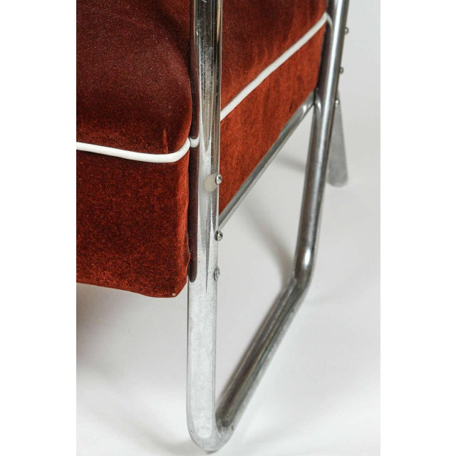 Image of Vintage German Mohair Upholstered Chrome Chair