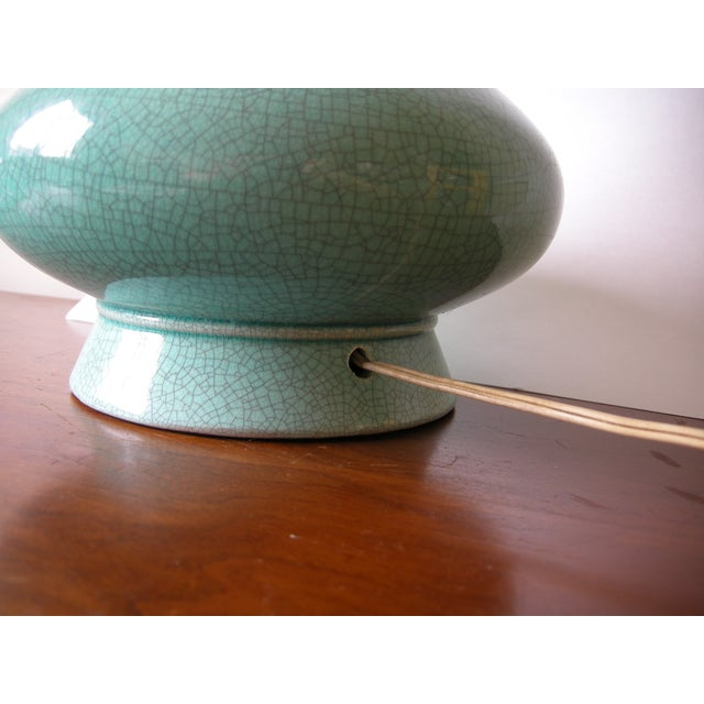 Image of Vintage Mid-Century Modern Turquoise Table Lamp