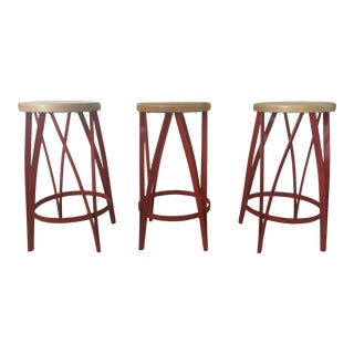 West Elm Wood and Metal Counter Stools - S/3
