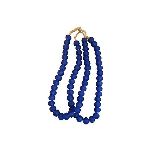 Image of Jumbo Cobalt Blue Glass Beads - a Pair