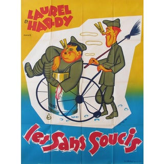 1950s Vintage French Movie Poster, Laurel and Hardy Les Sans Soucis, Pack Up Your Troubles