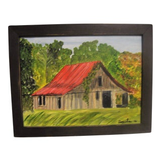 Susan Thau Red Roofed Barn Painting