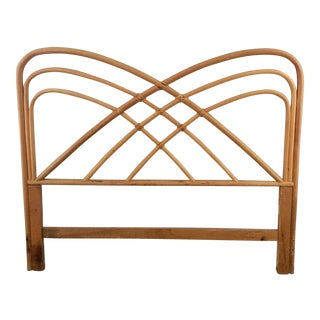 Vintage Bamboo Rattan Arched Butterfly Queen Headboard