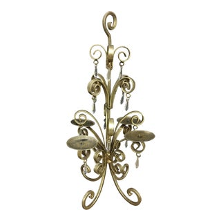Wrought Iron Candleholder Painted In Antique Gold