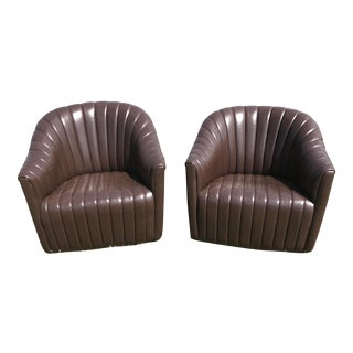 Ward Bennett Brickell Pleated Channel Leather Club Chairs - A Pair