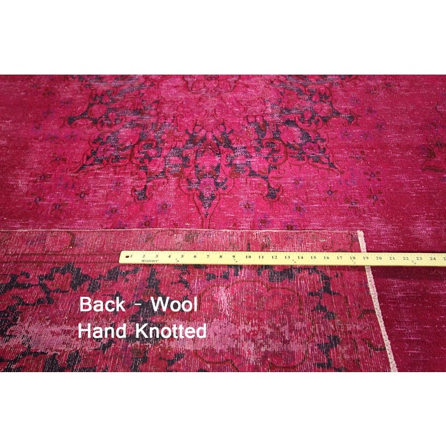 "Pink Overdyed Oriental Floral Rug - 9'6"" x 14'10"" - Image 7 of 10"