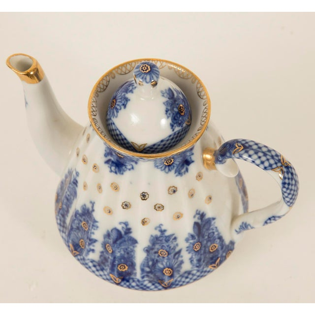 Lomonosov Cobalt Blue & Gold Porcelain Teapot - Image 7 of 11