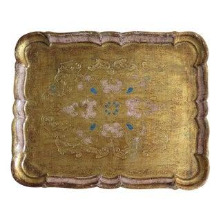 Vintage Florentine Pink & Gold Wood Serving Tray