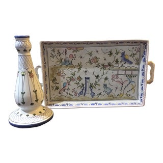 Hand-Painted Tray & Candlestick - A Pair