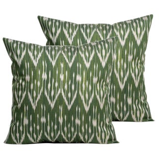 Olive Silk Atlas Accent Pillows - A Pair