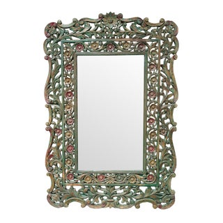 Carved Floral Wood Mirror