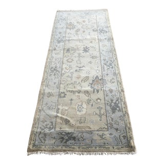 Hand-Knotted Indian Oushak Runner - 2′8″ × 8′